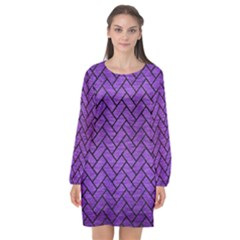 Brick2 Black Marble & Purple Brushed Metal Long Sleeve Chiffon Shift Dress