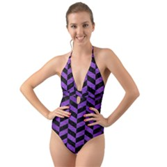 Chevron1 Black Marble & Purple Brushed Metal Halter Cut Out One Piece Swimsuit