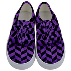 Chevron1 Black Marble & Purple Brushed Metal Kids  Classic Low Top Sneakers