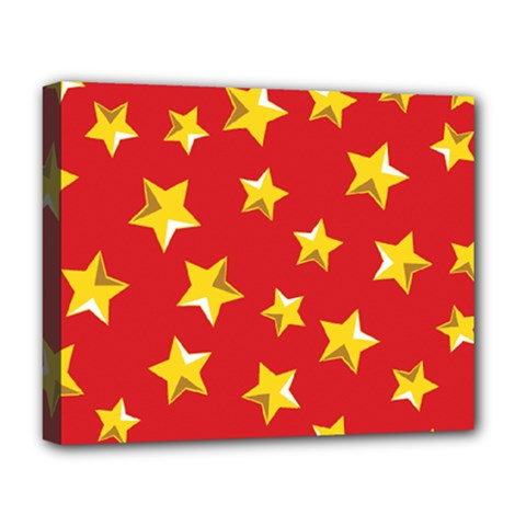 Yellow Stars Red Background Pattern Deluxe Canvas 20  X 16