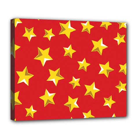 Yellow Stars Red Background Pattern Deluxe Canvas 24  X 20