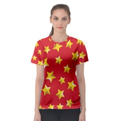 Yellow Stars Red Background Pattern Women s Sport Mesh Tee