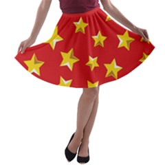 Yellow Stars Red Background Pattern A Line Skater Skirt