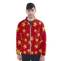 Yellow Stars Red Background Pattern Wind Breaker (men)