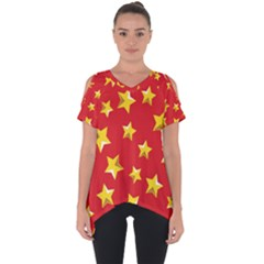 Yellow Stars Red Background Pattern Cut Out Side Drop Tee