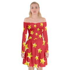Yellow Stars Red Background Pattern Off Shoulder Skater Dress