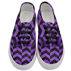 Chevron2 Black Marble & Purple Brushed Metal Women s Classic Low Top Sneakers