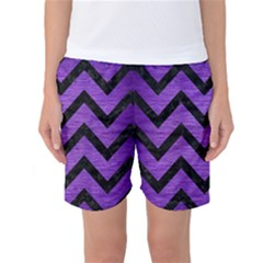 Chevron9 Black Marble & Purple Brushed Metal Women s Basketball Shorts