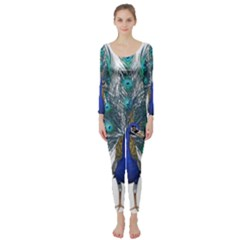 Peacock Bird Peacock Feathers Long Sleeve Catsuit