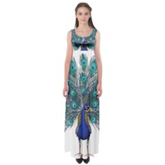 Peacock Bird Peacock Feathers Empire Waist Maxi Dress