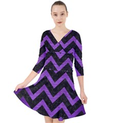 Chevron9 Black Marble & Purple Brushed Metal (r) Quarter Sleeve Front Wrap Dress