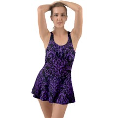 Damask1 Black Marble & Purple Brushed Metal (r) Swimsuit