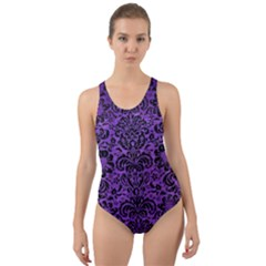 Damask2 Black Marble & Purple Brushed Metal Cut Out Back One Piece Swimsuit
