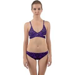 Damask2 Black Marble & Purple Brushed Metal Wrap Around Bikini Set