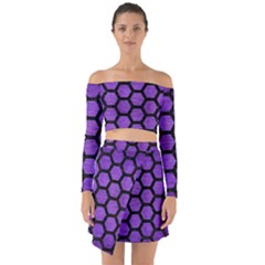 Hexagon2 Black Marble & Purple Brushed Metal Off Shoulder Top With Skirt Set