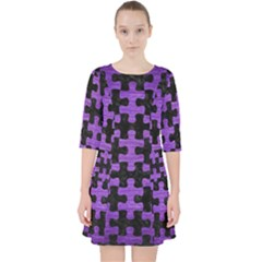 Puzzle1 Black Marble & Purple Brushed Metal Pocket Dress