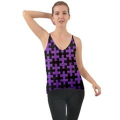 Puzzle1 Black Marble & Purple Brushed Metal Cami