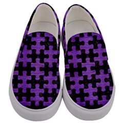 Puzzle1 Black Marble & Purple Brushed Metal Men s Canvas Slip Ons