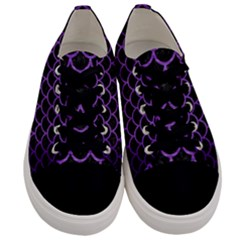 Scales1 Black Marble & Purple Brushed Metal (r) Men s Low Top Canvas Sneakers