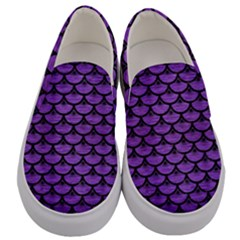 Scales3 Black Marble & Purple Brushed Metal Men s Canvas Slip Ons