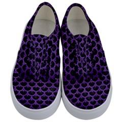 Scales3 Black Marble & Purple Brushed Metal (r) Kids  Classic Low Top Sneakers