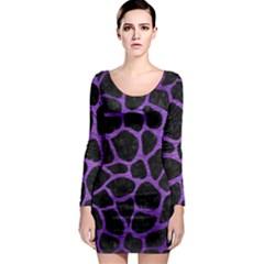 Skin1 Black Marble & Purple Brushed Metal Long Sleeve Bodycon Dress