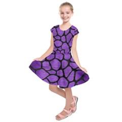 Skin1 Black Marble & Purple Brushed Metal (r) Kids  Short Sleeve Dress