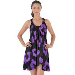 Skin5 Black Marble & Purple Brushed Metal Show Some Back Chiffon Dress
