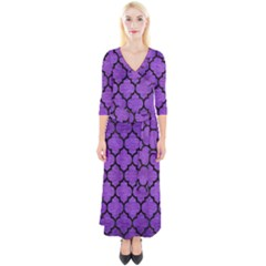 Tile1 Black Marble & Purple Brushed Metal Quarter Sleeve Wrap Maxi Dress
