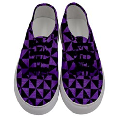 Triangle1 Black Marble & Purple Brushed Metal Men s Classic Low Top Sneakers