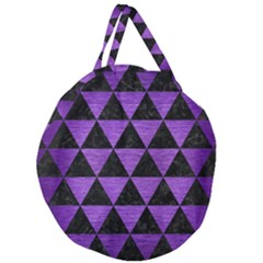 Triangle3 Black Marble & Purple Brushed Metal Giant Round Zipper Tote