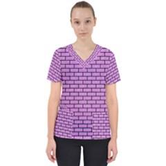Brick1 Black Marble & Purple Colored Pencil Scrub Top
