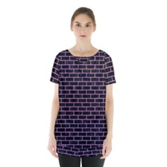 Brick1 Black Marble & Purple Colored Pencil (r) Skirt Hem Sports Top