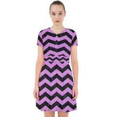 Chevron3 Black Marble & Purple Colored Pencil Adorable In Chiffon Dress