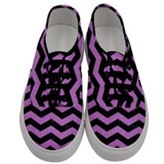 Chevron3 Black Marble & Purple Colored Pencil Men s Classic Low Top Sneakers