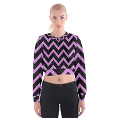 Chevron9 Black Marble & Purple Colored Pencil (r) Cropped Sweatshirt