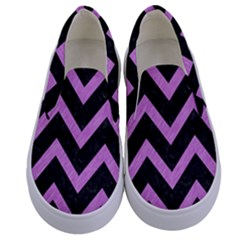 Chevron9 Black Marble & Purple Colored Pencil (r) Kids  Canvas Slip Ons