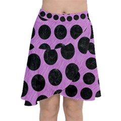 Circles1 Black Marble & Purple Colored Pencil Chiffon Wrap
