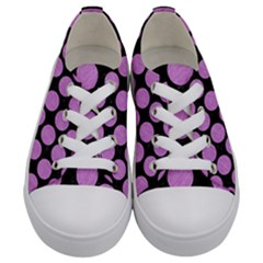 Circles2 Black Marble & Purple Colored Pencil (r) Kids  Low Top Canvas Sneakers