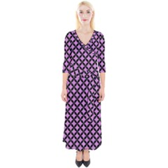 Circles3 Black Marble & Purple Colored Pencil Quarter Sleeve Wrap Maxi Dress