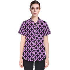 Circles3 Black Marble & Purple Colored Pencil (r) Women s Short Sleeve Shirt