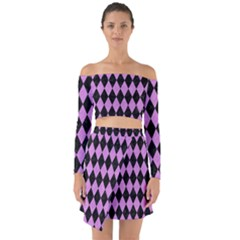 Diamond1 Black Marble & Purple Colored Pencil Off Shoulder Top With Skirt Set