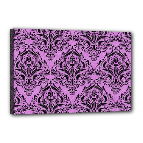 Damask1 Black Marble & Purple Colored Pencil Canvas 18  X 12