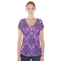 Damask1 Black Marble & Purple Colored Pencil Short Sleeve Front Detail Top