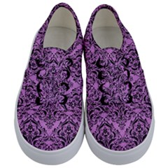 Damask1 Black Marble & Purple Colored Pencil Kids  Classic Low Top Sneakers