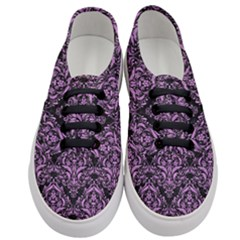 Damask1 Black Marble & Purple Colored Pencil (r) Women s Classic Low Top Sneakers