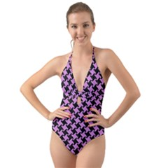 Houndstooth2 Black Marble & Purple Colored Pencil Halter Cut Out One Piece Swimsuit