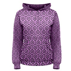 Hexagon1 Black Marble & Purple Colored Pencil Women s Pullover Hoodie