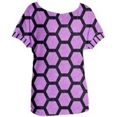 Hexagon2 Black Marble & Purple Colored Pencil Women s Oversized Tee