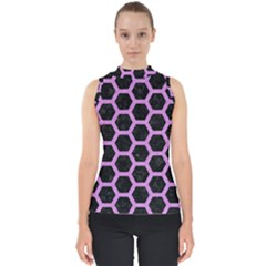 Hexagon2 Black Marble & Purple Colored Pencil (r) Shell Top
